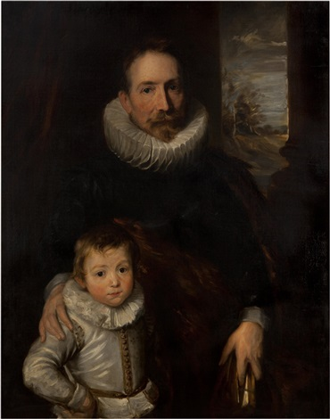 a portrait of a gentleman, said to be joannes woverius, with his son by sir anthony van dyck