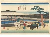 six oban yoko-e (from kisokaido rokujukyu tsugi no uchi (the sixty-nine stations of the kisokaido)) (6 works) by ando hiroshige