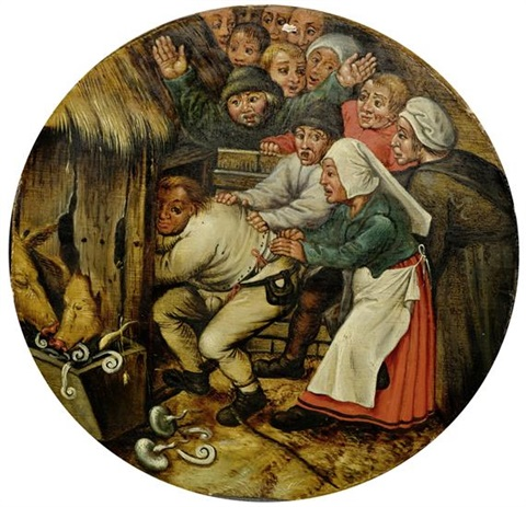 der in den schweinestall gestossene by pieter brueghel the younger