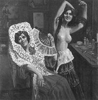 zwei spanische tänzerinnen in der garderobe by lino vesco