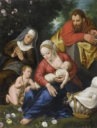 heilige familie mit elizabeth und johannes dem täufer (collab. w/jan brueghel the younger) by marten pepyn