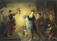 triumphierende judith mit dem haupt des holofernes by johann zick