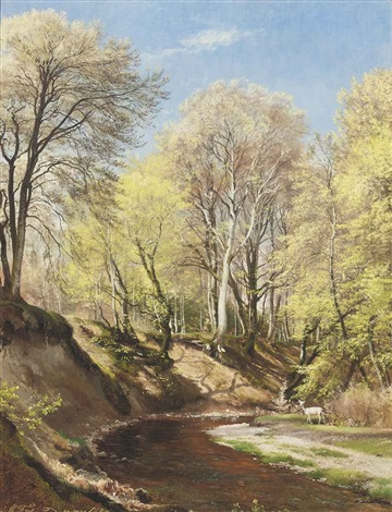 deer at the bend of the river by carl frederik peder aagaard