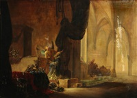 a church interior with an angel and a priest by adriaen verdoel