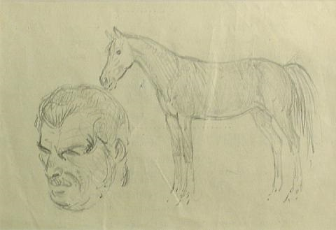 a man and horse (sketch) by andrew michael dasburg