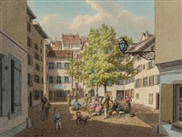basel: andreasplatz. / - lindenberg. / - ecke freis strasse, münsterberg (3 works) by johann jakob schneider