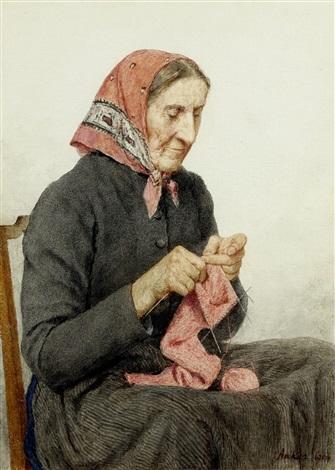 sitzende bäuerin beim stricken by albert anker