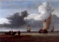 fischerboote und segelschiffe an der holländischen küste by julius porcellis