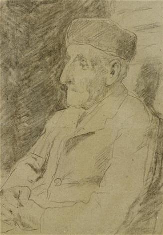 sitzender älterer mann mit pfeife sitzender älterer mann verso by albert anker