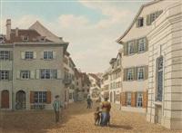 basel: engelhof. / - klingenthal. / - nadelberg. / - stiftsgasse (4 works) by johann jakob schneider