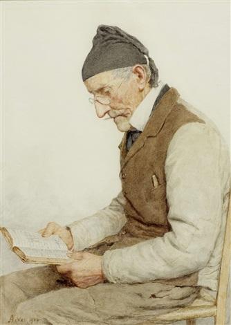 sitzender bauer beim lesen by albert anker