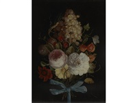 a still life of hanging fruit and flowers by dutch school (18)
