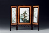 夏日小景 (porcelain plaque) (set of 3, various sizes) by xu zhongnan