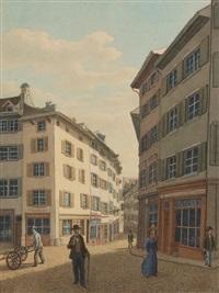 basel: hutgasse. / - oberer heuberg. / - petersberg mit wolfsbrunnen. / - pfluggässlein (set of 4) by johann jakob schneider