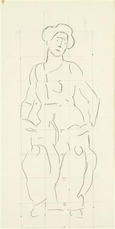 skizze zu die heilige stunde study by ferdinand hodler
