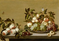 früchtestilleben in einer porzellanschale auf einem tisch und insekten by bartholomeus assteyn