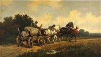 an open landscape with a horse cart and figures on a track by harden sidney melville and henrick pieter koekkoek