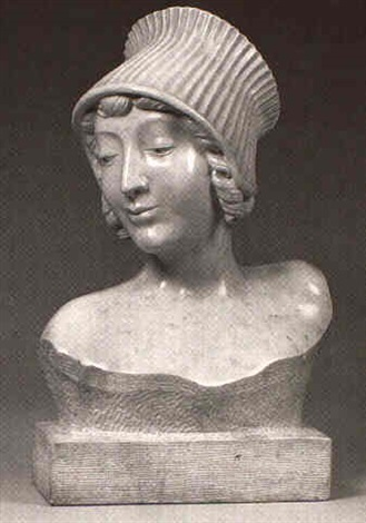 portrait bust of a lady wearing cap by aniev