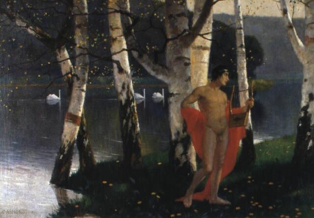 leierspieler in birkenwald an einem fluss by karl armbrust