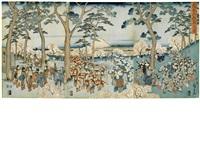 asukayama hanami no zu (flower viewing at asukayama) (triptych) by ando hiroshige
