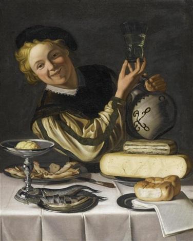 portrait eines jungen mannes vor gedecktem tisch by christian van couwenbergh