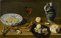 stilleben mit fischen, einer zitrone, einem weinkrug, käse und einer maus auf einer steinplatte by abraham leroy