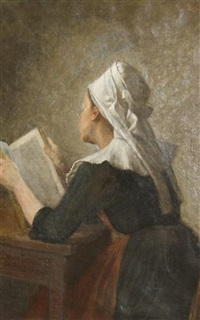 breton woman reading by enoch wood perry