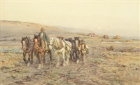 ploughmen returning from work, sussex by harold joseph swanwick