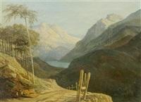 weite berglandschaft mit einem weg im vordergrund by rodolphe töpffer
