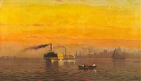 ferries crossing a harbor by w. richards