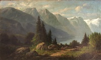 figures and cattle on a path near an alpine lake by carl jungheim