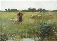 shepherd tending a flock by edmund wyly (sir) grier