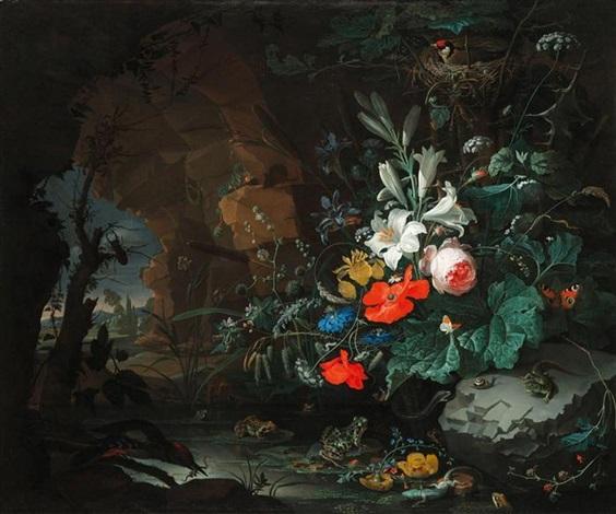 stilleben mit blumen, echsen, fröschen, schmetterlingen und vögeln in einer grotte by abraham mignon