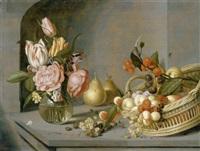 stilleben mit blumenstrauss in einer vase und einem früchtekorb in einer nische by ambrosius bosschaert the younger
