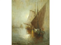 sailboats in moonlight; by the zuyderzee, holland; near coniston water, england (3 works) by george thompson pritchard