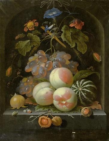 früchte und blumenstilleben mit trauben pfirsichen melone klatschmohn und insekten in einer steinnische by abraham mignon