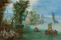 flusslandschaft mit einer figurengruppe am ufer by jan brueghel the younger