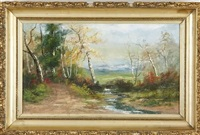 landscape with road at left by charles hepner i