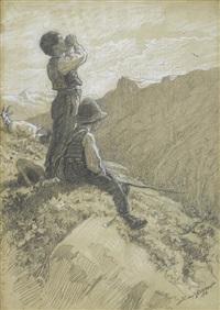 hirtenknaben auf der alp by alfred van (jacques) muyden