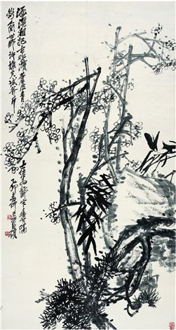 梅石松竹图 plum blossom rock pine and bamboo by wu changshuo