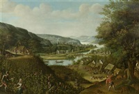 flusslandschaft mit weinernte by marten van valkenborch the elder