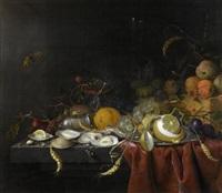 stilleben mit früchten und austern auf einem tisch by jan jansz heem the younger