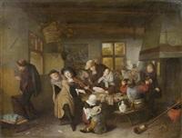 interieursszene mit fröhlicher gesellschaft by hendrik (h.) de valk