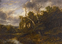 a river landscape with a hunter and his dog by patrick nasmyth
