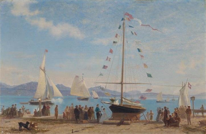 inauguration dun bateau lacustre sur le quai douchy by francois louis david bocion