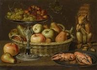 früchtestilleben auf einer tischplatte mit einem eichhörnchen, trauben auf einem silbertazza, birnen und äpfel in einem weidenkorb, langusten auf einem silberteller by clara peeters