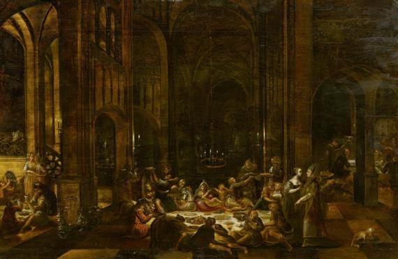 tempelinterieur mit reichen opfergaben zu ehren der gottheit baal by hendrick van steenwyck the younger