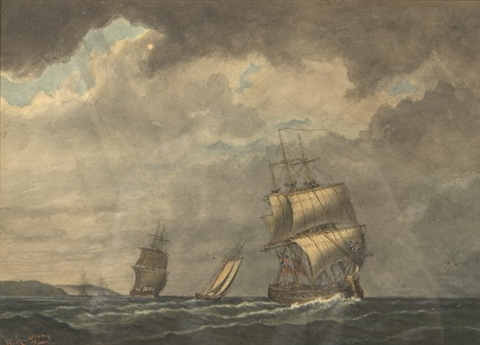 ships of the royal navy on the st lawrence off quebec city by william wallace armstrong