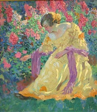 woman in a garden by charles f. arcieri