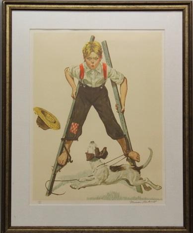 boy on stilts by norman rockwell